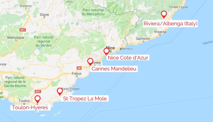 cote d'azur airports map